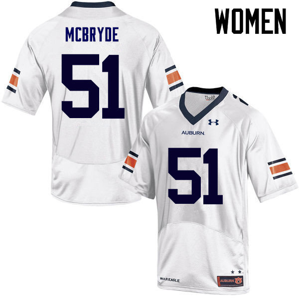 Women Auburn Tigers #51 Richard McBryde College Football Jerseys Sale-White